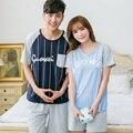 100% casal pijama de algodão plus size M-XXXL listras verticais relaxado treino casual para as mulheres letras impressas homens sleepwear