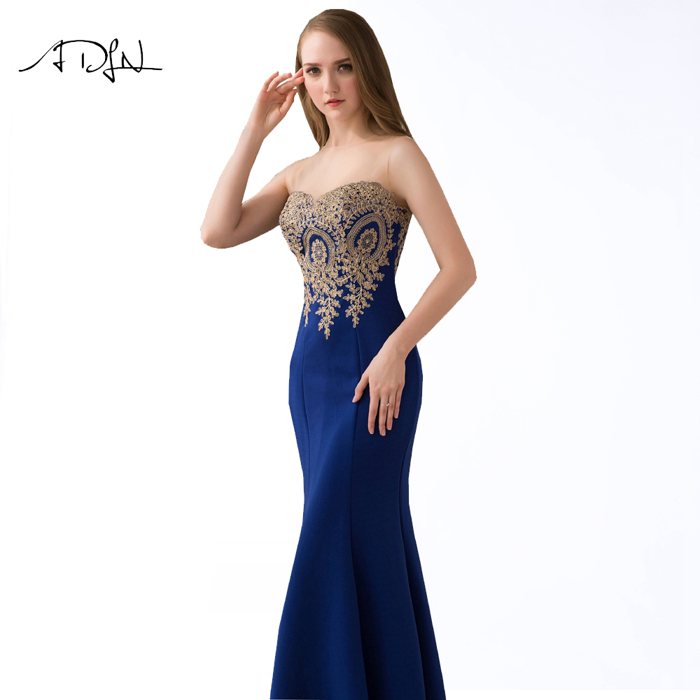ADLN 2017 Stock Mermaid Evening Dresses Long Formal Royal Blue Party Gowns Cheap Prom Wear robe de soiree longue 9