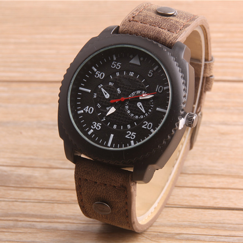 Cindiry Top Brand Men Leather Quartz Wrist font b Watches b font Punk font b Sports