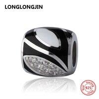 High Polish 925 Silver Beads Black White Charms With CZ Fit Genuine Pandora Pendant Bracelet Diy