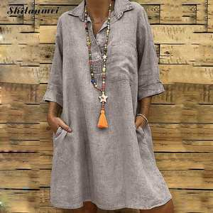 Shirt Dress Pocket Neck Vintage Summer Plus-Size Casual 5xl Women Solid Turn-Down Loose