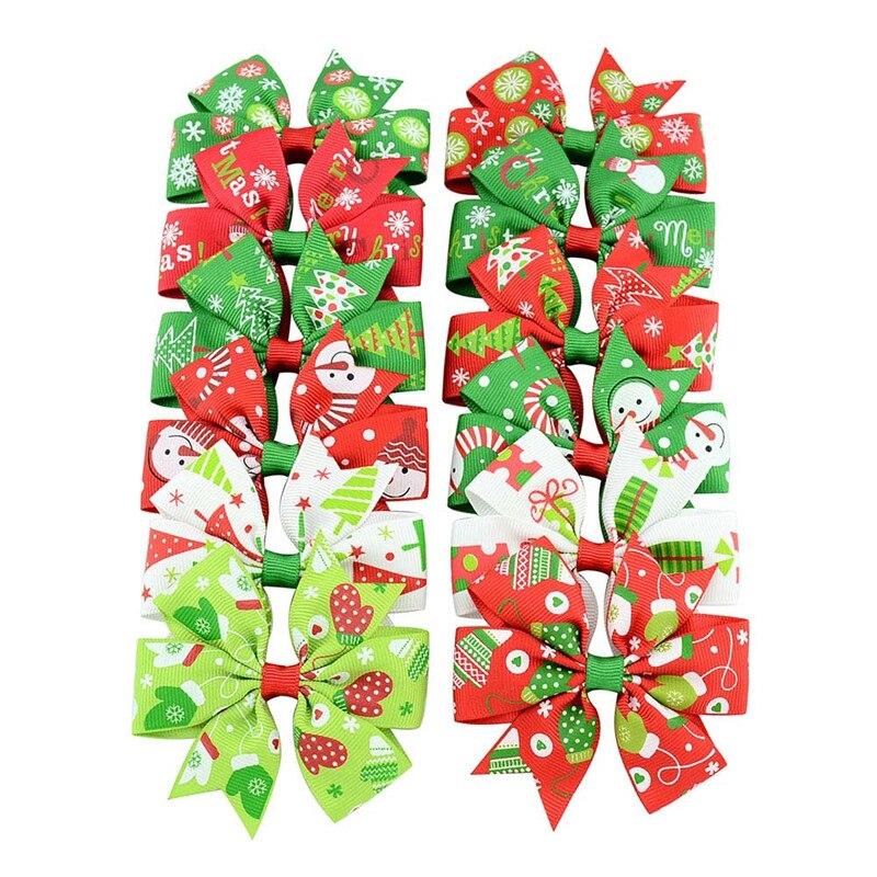 Girls Christmas Print Gifts Snowman Ribbon Bow Kids Hairclips Bowknots Party Hair Clips Women Hairpins Hair Accessories