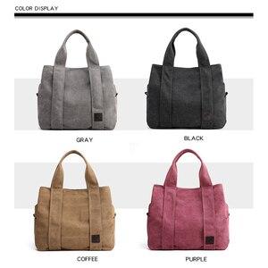 Image 2 - Woman Canvas Handbags Casual lady Big Capacity Shoulder Bags Girls Crossbody Pack Vintage Solid Multi pocket Ladies Totes Bolsas
