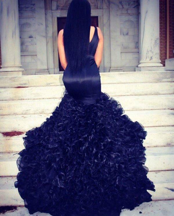 Bleu marine longue sirène robes de bal 2017 pour les filles noires col en V Organza volants Zipper-Up Court Train Sexy jolies robes de bal - 4