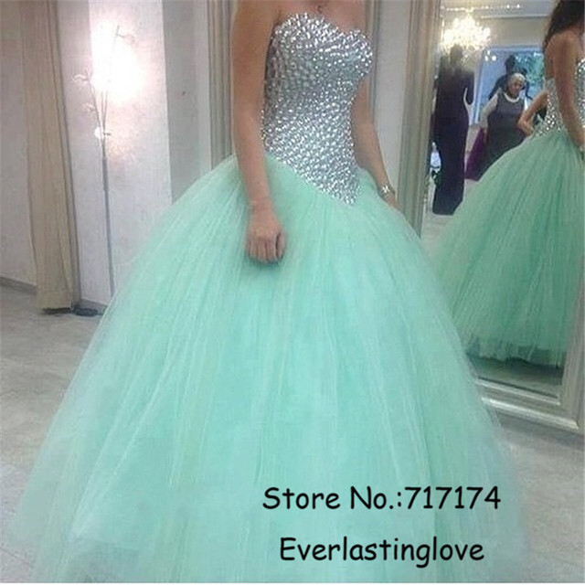 246aeb09395d Tulle sweetheart lace up back pageant prom dress Sexy Sixteen Bling Crystal Beaded  Ball gown Sweet Blue Quinceanera Dresses