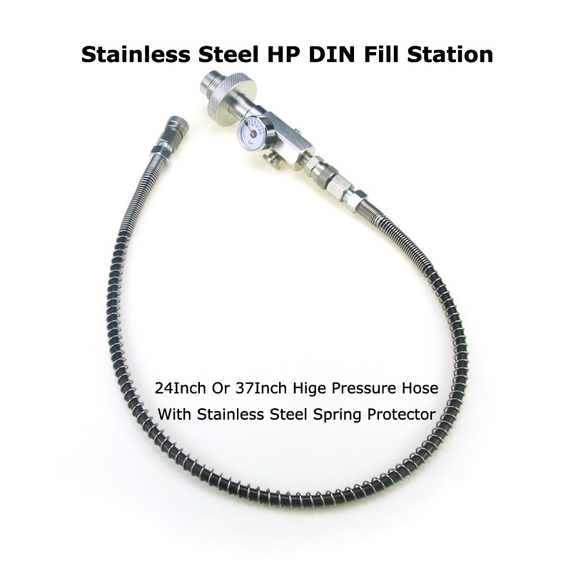 New Paintball Air Gun Airsoft PCP Stainless Steel Fill Station DIN G5/8 Charging Adapter With 24 Inch High Pressure Hose