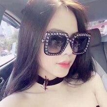 QETOU Tamanho Cristal Quadrado Diamante Óculos De Sol Das Mulheres Marca de  Luxo Óculos de Sol Das Senhoras 2017 Novo Gradiente . 25483cffe6