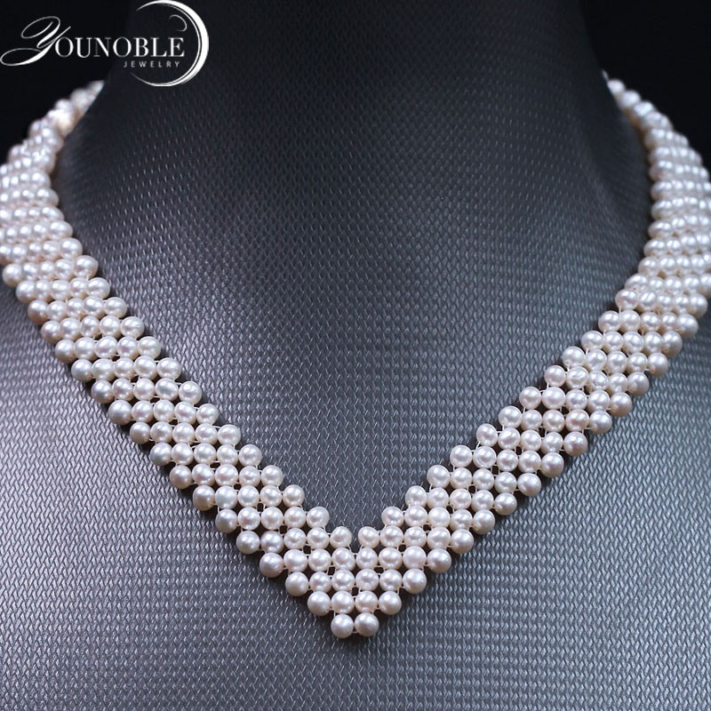 Real freshwater pearl choker multilayer necklace,wedding natural pearl necklace women mother statement jewelry lace white gift white gothic style black white lace flower wide choker necklace