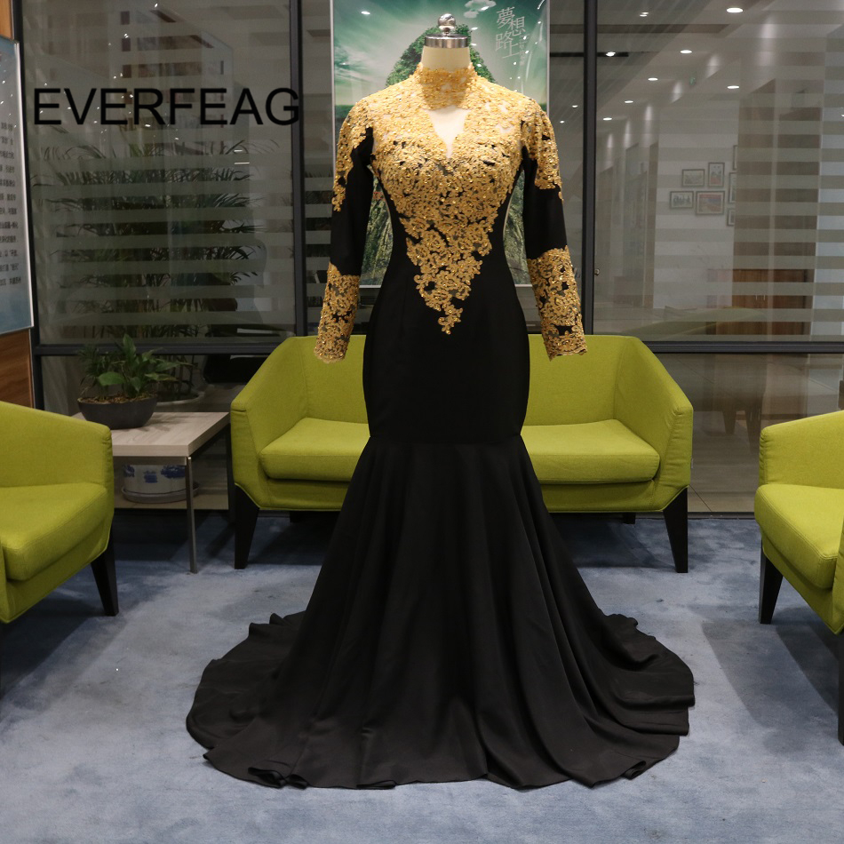 Vintage Long Sleeves Black Evening Dresses 2018 Gold Applique Lace Mermaid Moroccan Kaftan Formal Evening Gown