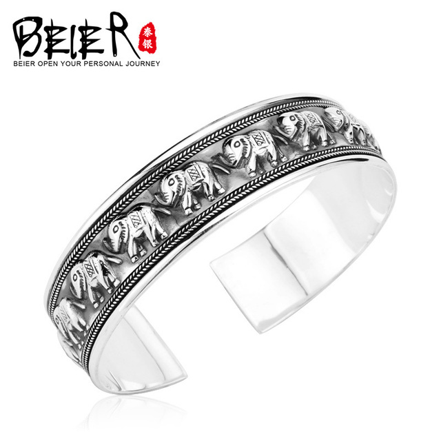 Beier 925 Sterling Silver Bracelet  fashion trendy high quality elephant bracelet man and women bracelet   BR925SZ044