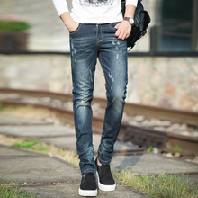 2016 Autumn fashion new arrival male slim fit denim pencil pants stylish scratched elastic casual jeans