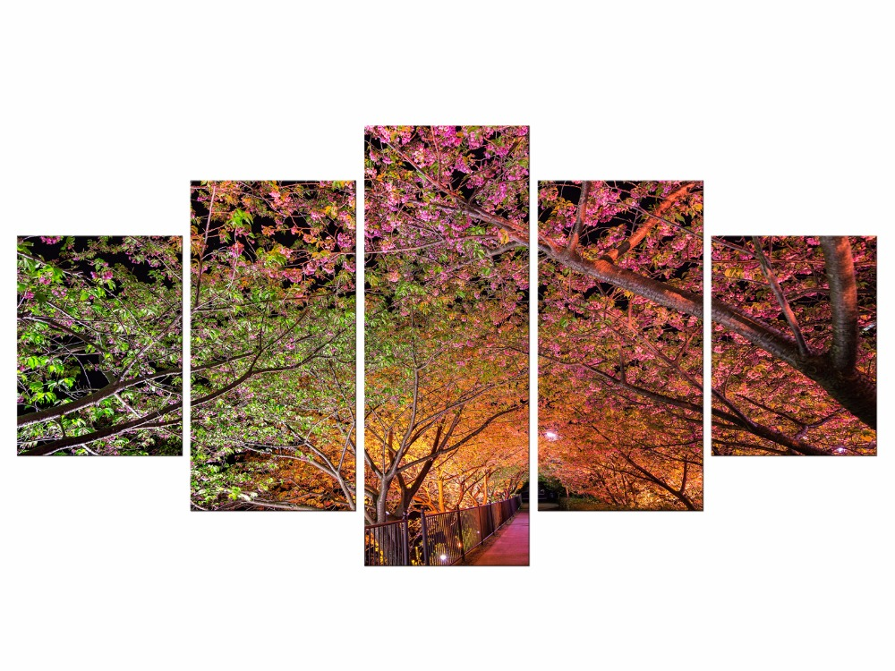 5 Pieces Painting Canvas Wall Pink Cherry Blossom Large Modern Art Home Decoration Picture Living Room Framed