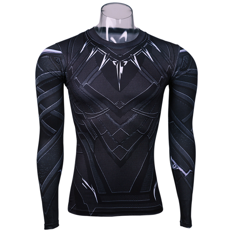 Superman cosplay Panther T-shirt men's costume long sleeve 3D print  anime superhero cosplay sports tights Halloween T-shirt