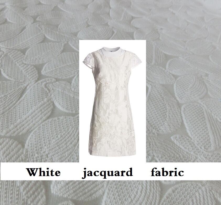 Fashion rice white jacquard brocade coat jacket fabric DIY tailor cloth
