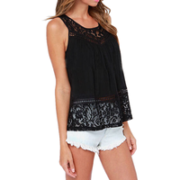 2017 Summer New Casual Tank Tops Women Sexy Sleeveless Lace Vest O Neck Tops Female Loose