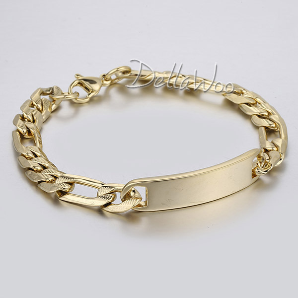 New 6 7 8mm Stainless Steel Bracelet Hammered Figaro Link Id Silver Gold Tone Men S Chain Fashion Jewelry Gift Dlkb448 In Bracelets