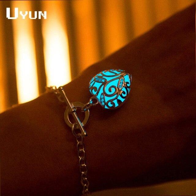 Steampunk Pretty Magical Hollow Heart Shape Glow Bracelet In The Dark Bracelets For Women Glowing