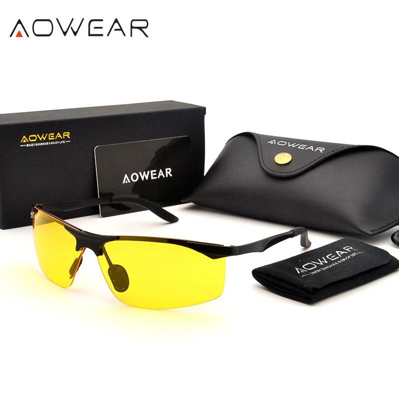 a91610e40200f AOWEAR Mens Polarizada HD Óculos de Visão Noturna Motorista Óculos Homens  óculos de Sol Amarelos para a Condução oculos lentes de sol mujer A55NV