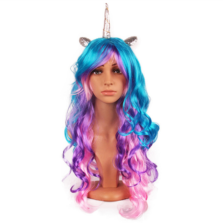 Kids Unicorn Hair Wig For Halloween Hair Cospaly For Women Bachelorette Party Synthetic Hairpiece High Temperature Fiber