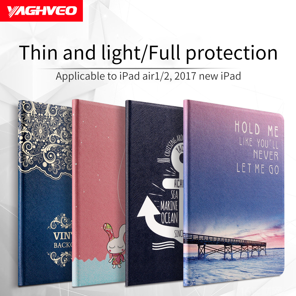 VAGHVEO Cover Case for IPad Air 2 / IPad Air 1 Auto Sleep Fashion Painting for ipad 9.7 Inch Ultra-thin Flip Case Stand