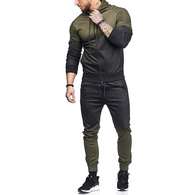 782f68e6da1 US $22.73 50% OFF|ZOGAA mannen Trainingspak 2018 Brand New Casual  MenOutwear 2 stks Set Trainingspak Mannelijke Fitness Sportkleding Kleur  Blok Mode ...