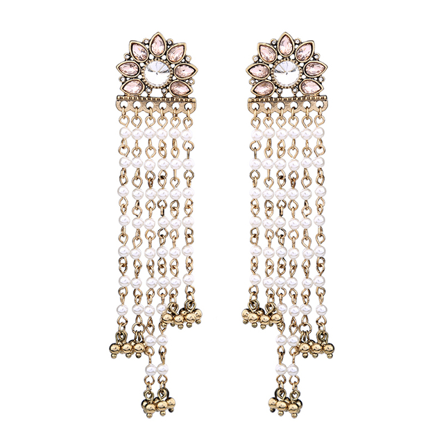 Party Trendy Crystal Flower Chandelier Earrings 2017 Long Beads Tel Large Ear Jewelry Women Bijoux