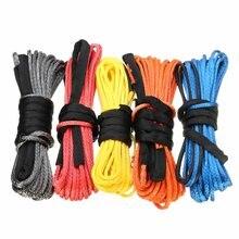 Cable de cabrestante de 15m, 5mm/5,5mm/6mm, cuerda de remolque sintética de línea de cuerda, 5500lbs/7000lbs/7700lbs para Jeep, ATV, UTV, SUV, 4X4, 4WD