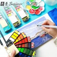 Веерообразная Акварельная краска твердый набор акварельных красок для начинающих с перьевой ручкой детская краска на водной основе художе...