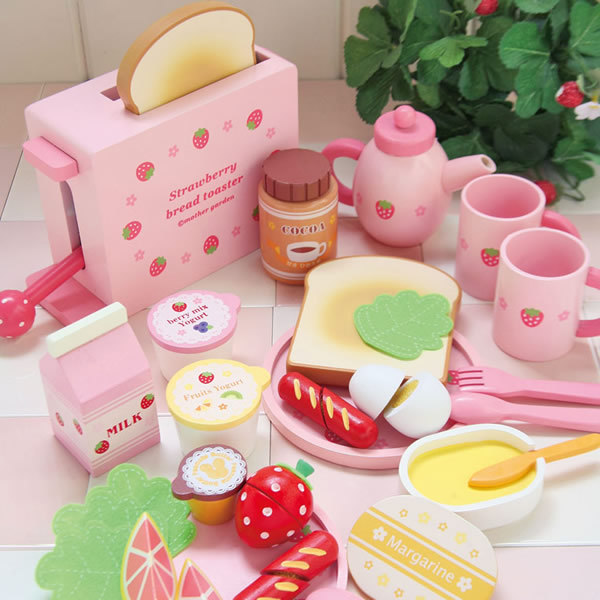 Mother garden childrens wood playhouse game toy toast bread toaster wooden child kitchen toys set