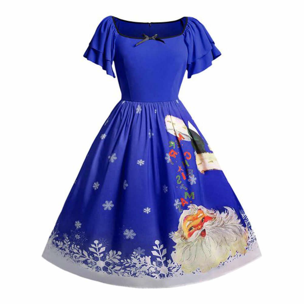 ... Women Christmas Plus Size Bow Santa Claus Print Vintage Dress christmas  dress women women dress long ... d81ab93d73e2