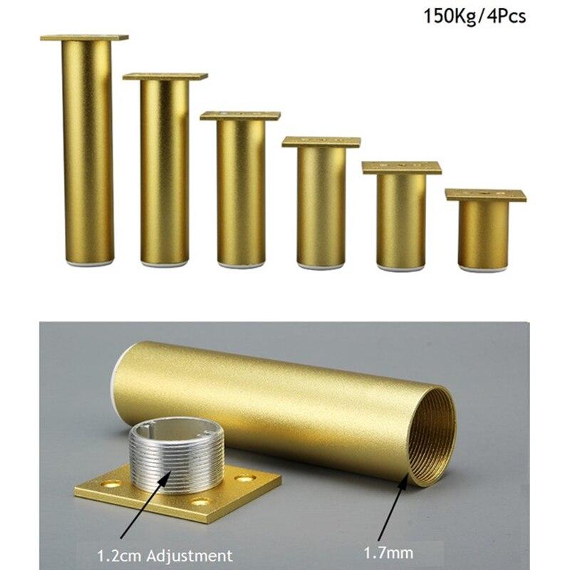 4Pcs Sanding Gold Round Dia.38mm Aluminum Adjustable Leveling Feet Leg Furniture TV Cabinet