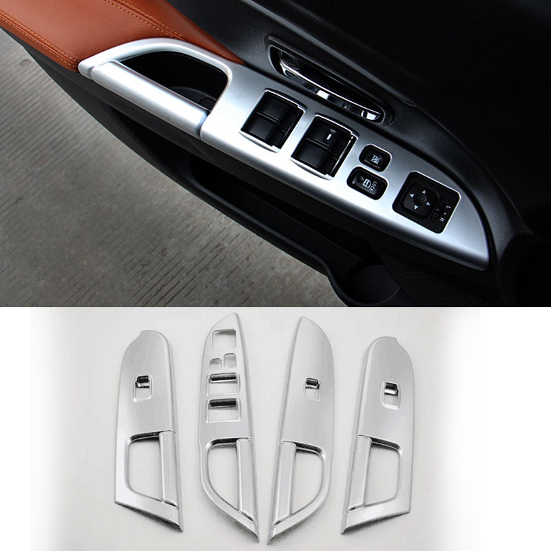 2016 car styling abs 4pcs set interior door window lift switch panel cover for mitsubishi asx. Black Bedroom Furniture Sets. Home Design Ideas