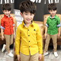 2017 Brand New Summer Style Cotton Solid Baby Kids Boys Blouse Shirts With Long Sleeves Shirts For Children Boys Christmas Gift