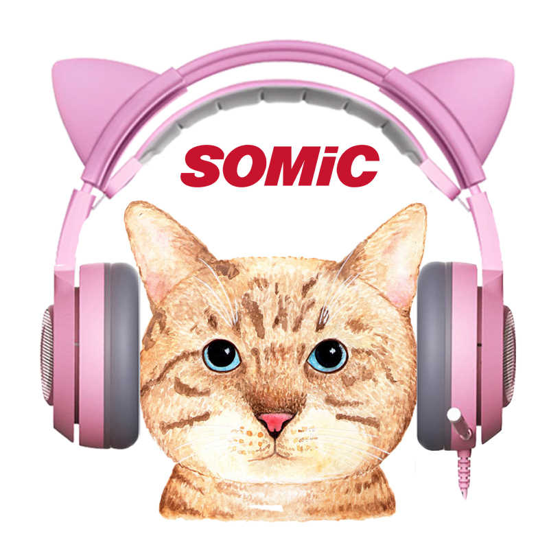 SOMIC G951s PS4 różowy kot ucho słuchawki z redukcją szumów 3.5mm wtyczka dziewczyna gier dla dzieci zestaw słuchawkowy z mikrofonem do telefonu