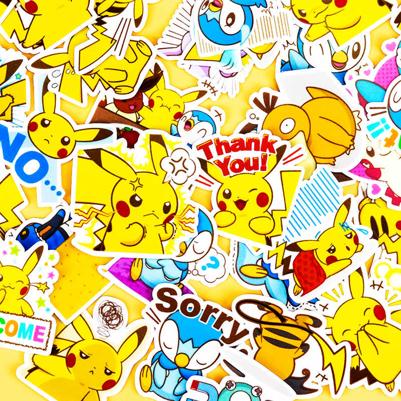 42 Pcs Kreatif Lucu Buatan Sendiri Pikachu Ekspresi Diy Ponsel Hewan Stiker Diary Album Dekorasi Stiker Scrapbooking Anak