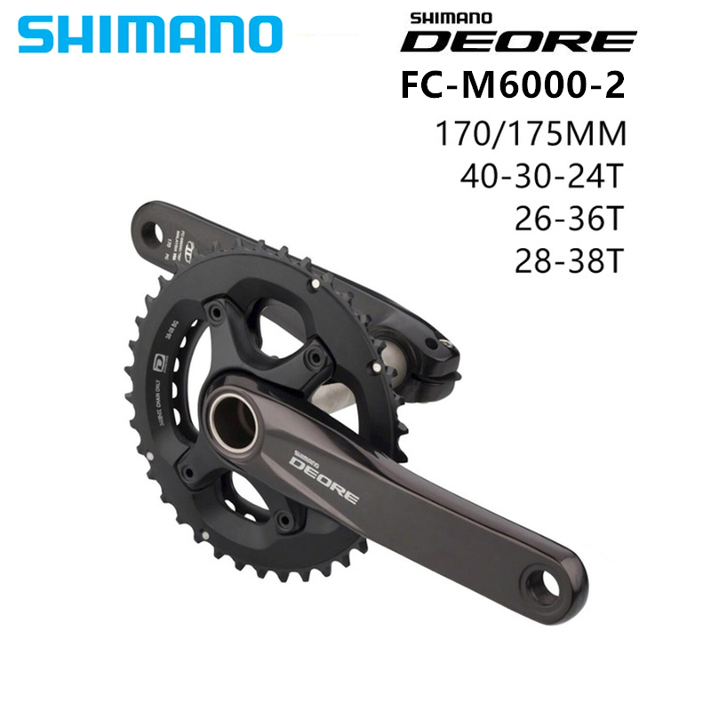 SHIMANO DEORE FC M6000 2x10 Speed MTB Bicycle Crankset 26 36/38x28T 170/175mm 10S HOLLOWTECH II Crankset WITH BB52