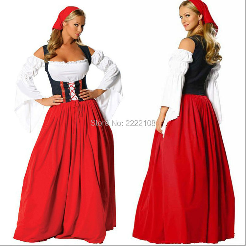 Cheap LONG Red Oktoberfest Beer Cosplay little red riding hood full-length skirt girl Maid Peasant Dress Costume German Wench