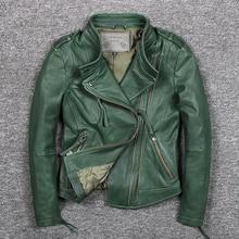Damska koszulka typu slim fit modne prawdziwej skóry kurtka zielony stanąć kołnierz krótki moto skórzana kurtka dla motocyklisty kobiety kożuch płaszcz