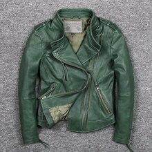 Womens slim fit fashionable genuine leather jacket green stand collar short moto biker leather jacket women sheepskin coat