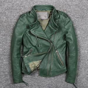 Image 1 - Womens slim fit fashionable genuine leather jacket green stand collar short moto biker leather jacket women sheepskin coat