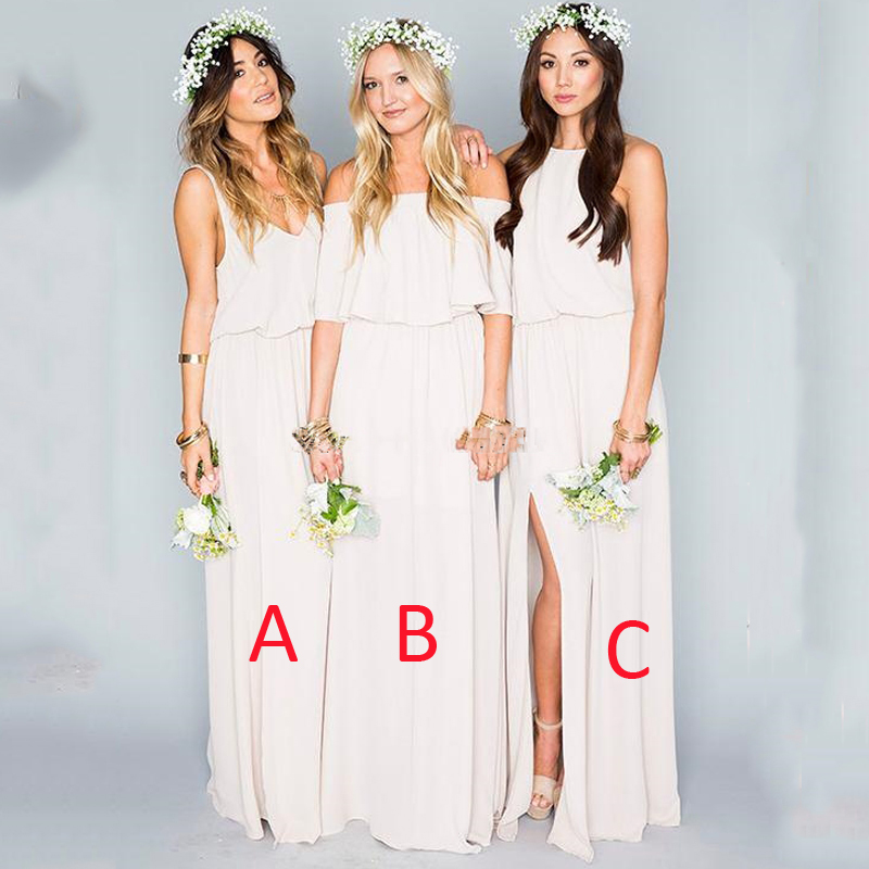 Buy boho beige long bridesmaid dresses for Bridesmaid dresses for a garden wedding