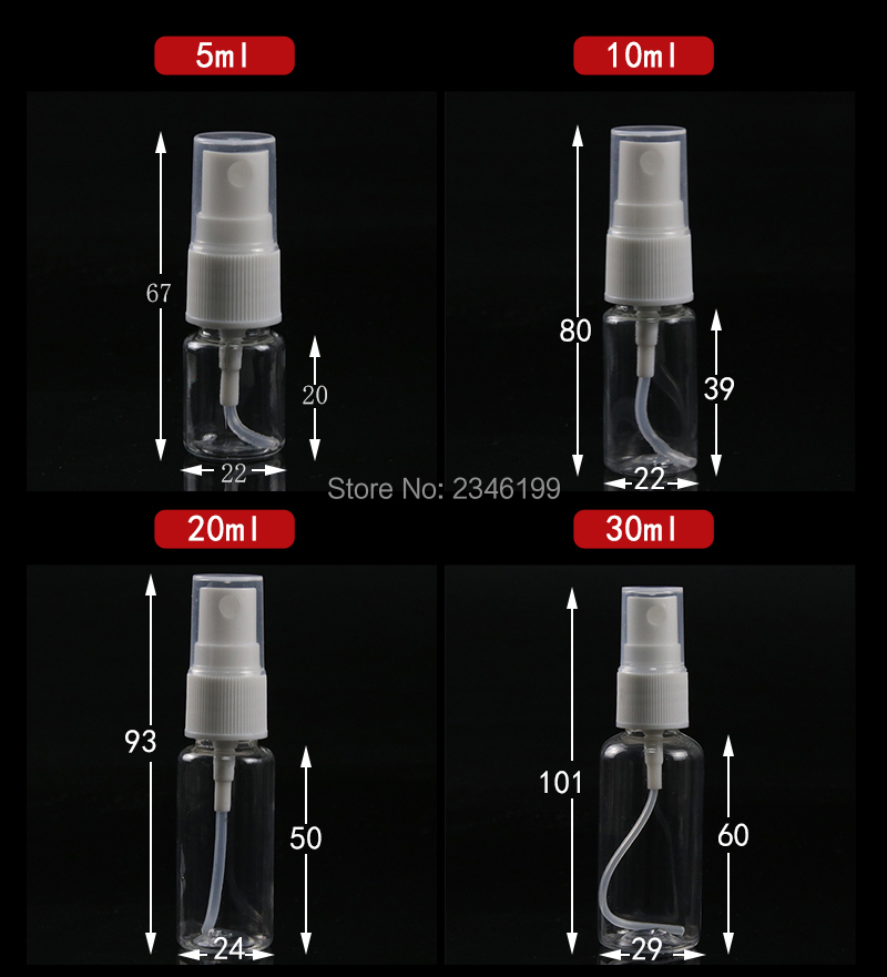 Plastic Spray Bottle 80ml Transparent Spray Pump Bottle 50ml Empty Plastic Cosmetic Container 100ml Spray Bottle 20ml 10ml (2)