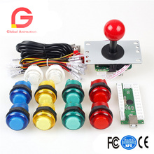 Zero Delay USB Encoder To PC Games Red Joystick+10xLEDIlluminated Push Buttons For Arcade Joystick DIY Kits Parts Mame Raspberry