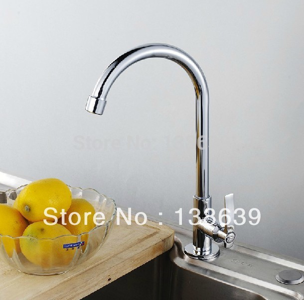 Free shipping 360 degree rotating copper kitchen faucet single cold vegetables basin sink mixer tap deck