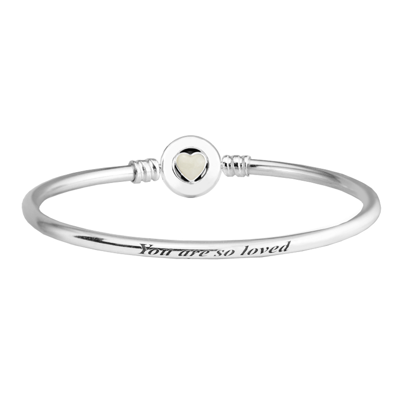 Real 925 Sterling-Silver-Jewelry Bangles for Women DIY Fits Beads Charms Silver Bangle with Loving Heart Clasp and Enamel pd2 for kim customer send with bag and box 7mm beads 925 silver jewelry for women and men