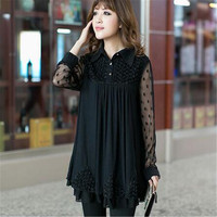 women blouse tops plus size XL 2XL 3XL 4XL 5XL clothing blouse chiffon lace female shirt loose shirt long tops coat Isweeland013
