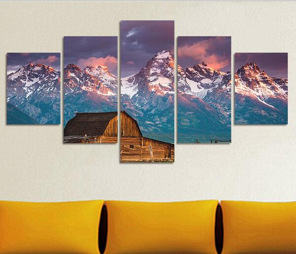 5 Pcs Landscape Mountain Range Canvas Printed Oil Spray