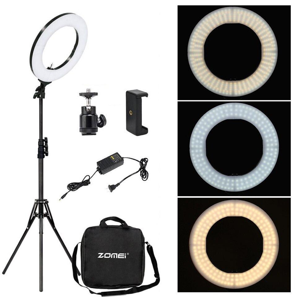 Светодиодный кольцевой светильник Cadiso с регулируемой яркостью для фотостудии 3200 5600K светильник ing Phone Adapter Макияж для прямой трансляции