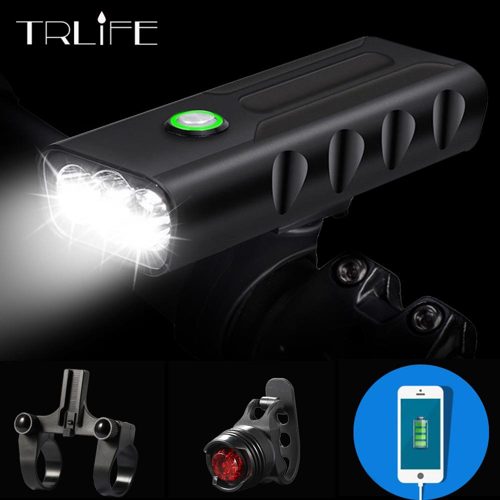 15000Lum 2/3*L2/T6 USB Rechargeable Built-In 5200mAh 3Modes Bicycle Light  Waterproof Headlight Bike Accessories With Taillight(China)