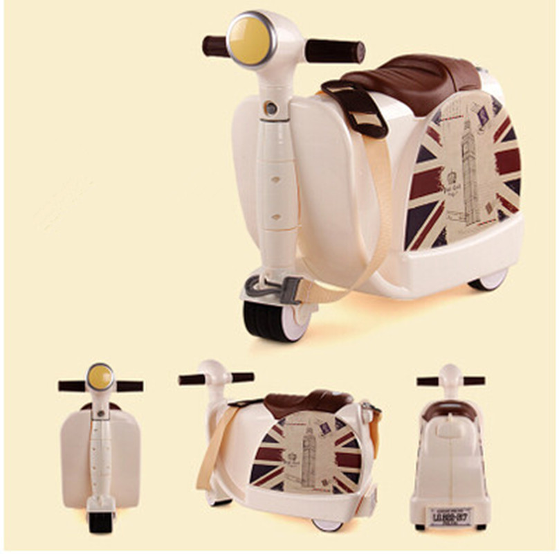 New Fashion Style Cute toy motorcycle shape Kids Children Luggage Boy and Girl Trunk Tro ...